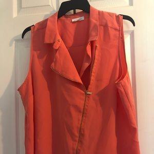 Salmon colored moto style vest